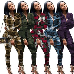Womens Tracksuits Two Piece Set Sports Leisure Colorful Long-sleeved Trousers Sportswear Camouflage Clothes S-3xl