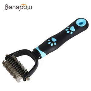 Benepaw Profsional Paw Dog Rake For Dhedding Ergonomic Handle Double-Sided Undercoat Dematting Comb Pet Grooming Tool