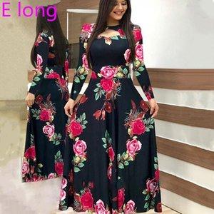 Elegant Spring Autumn Women Dress 2020 Casual Bohmia Flower Print Maxi Dresses Fashion Hollow Out Tunic Vestidos Dress Plus Size 210222
