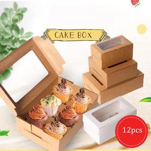 12pcs Bianco Carta Kraft Color Cookie Bakery Cookie Torta Pies Scatole con Finestre Pacchetto Decorative Box For Food Gifts Box Borsa per imballaggio