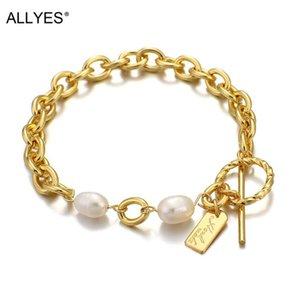 Link, Chain ALLYES Elegant Irregular Natural Pearl Bracelet For Women Gold Color Metal Simple Link Bracelets Party Club Jewelry