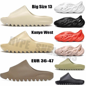 Kanye West Köpük Koşucu Sandalet Terlik Üçlü Siyah Beyaz Kemik Reçine Çöl Kum Erkekler Kadınlar Moda Slaytlar Sandal Ayakkabı ile Kutusu Hediye