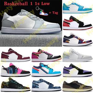 2021 1 1S Zapatos bajos de baloncesto UNC París Hombres Mujeres Zapatillas de deporte Gray Black Sail Black Toe GS Tri-Color Lavado Denim Entrenadores Llavero