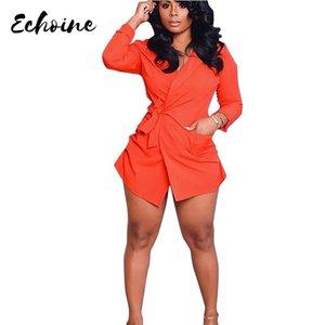 Casual Dresses Echoine Autumn Long Sleeve Turn Down Collar Office Working Shirt Dress Orange Women Irregular Party Mini Pocket
