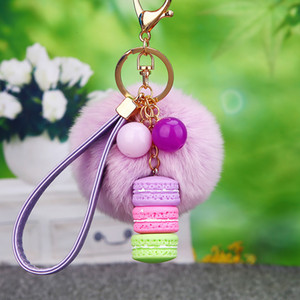 Fur Ball Key Ring Chain Macaron Keychain Jewelry Effiel Tower Beads Keyring Holder Fashion Resin Women Bag Pendant Charm Accessories for Car