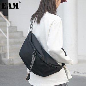 [EAM] Kadınlar Yeni Siyah Kısa Büyük Kapasiteli Tuval Kişilik Tüm Maç Crossbody Omuz Çantası Moda Gelgit 2021 18A1965