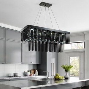 60cm 80cm 100cm 120cm 150cm modern rectangle smoky crystal chandelier lighting for dining room restaurant hotel club decoration