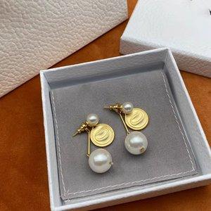 Luxury designer pearl stud earrings brass material double pearls earring earwear for ladies party wedding gift