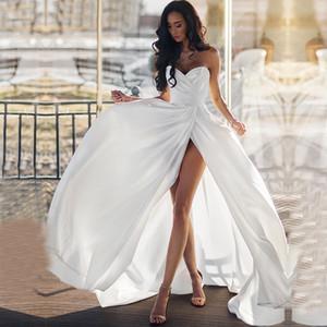 ZJ9220 2020 2021 White Ivory Appliques Ball Gown Cheap Simple Plain Beach Wedding Dresses Plus Size Sexy Sleeveless Side Slip