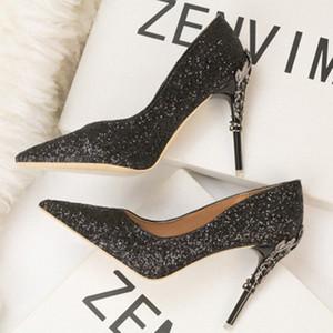 New Style Fashion Sexy Nightclub da donna scarpe da donna in metallo tacco a spillo a spillo alto tacco alto a bocca bassa sequins single scarpe j6qq #