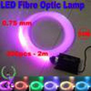 멀티 컬러 RGB LED 광섬유 조명 16W 0.75mm 200pcs 2m 광섬유 조명 엔진 DIY 천장 키트 빛 110V 220V RF 원격 컨트롤러