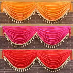 Ice Silk Swag Drape Valance Include Tassel For Backdrop Curtain Wedding Stage Background Event Party Decoration
