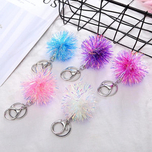 Newest Fashion Key Chain Bright Silk Hair Ball Keychains Lady's Bag Car Pendant Accessories Gift Toy Key Ring Trinkets Jewelry
