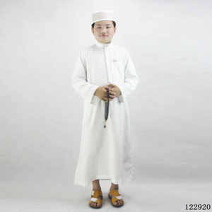 2021 New 80-160cm Kids Boys Jubba Muslim Thobe Islamic Traditional Costumes Embroidery Robe Gown Ramadan Prayer Clothing Fqlu