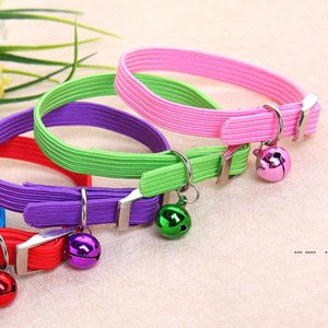 New Elastic Pet Collars Dogs With Bells Adjustable Cute Simple Solid Color for Small Dog EWB5417
