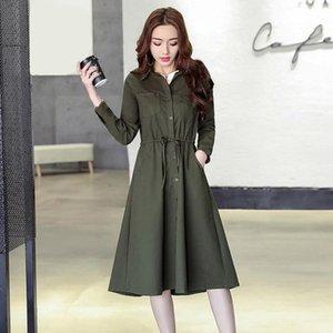 Women's Trench Coats Boollili 2021 Spring Army Green Coat Female Tunique Longue Windbreaker Para As Mulheres