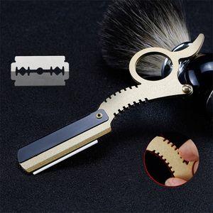 Stainless Steel Manual Razors Straight Edge Barber Razor Vintage Classic Travel Home Ring Shaver Razor Beard Shaving Hair Removal Tools W03