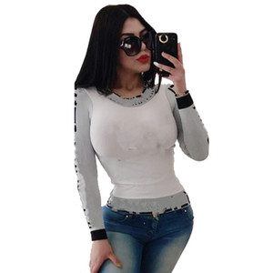 Long Sleeve T-shirts Designer Women Tops Ladies Tees Sexy Summer Clothing 2XL Plus Size Top Hot Sale Free Shipping 4511