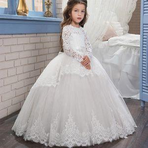 PLBBFZ Adolescente vestido de dama de honor larga para niñas niños de encaje princesa vestido de boda vestido de novia vestidos de niños 10 12 años
