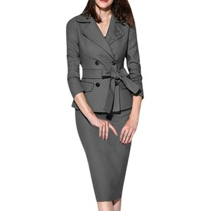 Stylish Bar Spring Skirt Suit Women Elegant Work Long Sleeve Buttons Turn Down Collar Coat & Slim Bodycon Pencil Skirts Suits
