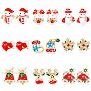 Cartoon Christmas Stud Earrings Stick Crystal Rhinestone Snowman Gloves Hat Bell Apple Earring Ladies Jewelry