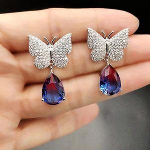 Dangle & Chandelier Luxury Water Drop Shape Earrings Cubic Zirconia Micro Pave Setting Exquisite Butterfly For Women Fashion Jewelry