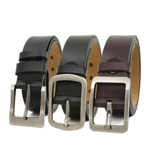 Fashion trend men's belt with metal pin buckle cowhide black antique belt with a width of about 3.8 cm with packaging