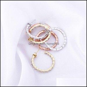 Knot Jewelry925 Sier Men Women Luxury Bling Zircon Fashion Unisex Hip Hop Open Circle Hoop Earrings Drop Delivery 2021 3Giwu