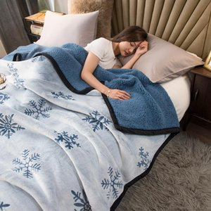 Sheets & Sets Super Soft Retro Flannel Fleece Sherpa Snowflake Bed Throw Blanket Sofa Portable Car Travel Cover Winter Thick Quilt Sheet