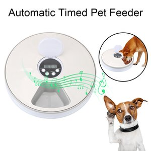 Electric distributor dry wet food for cat and dog, automatic timing circular feeder with tape recorder, meals, 6 grilles