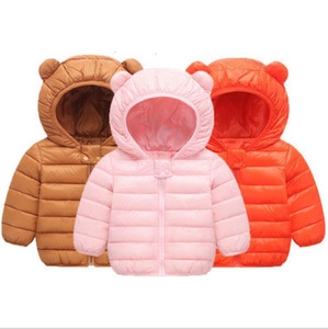 Kids Down Coat Boys Winter Hooded Outerwear Girl Long Sleeve Overcoat Ski Wear Down Jacket Designer Clothes Warm Solid Autumn Clothes YL559