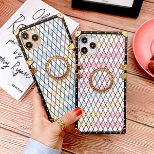 Luxury Square Gradient Diamond Ring Holder Phone Case For iPhone 12Pro 11Pro XS MAX XR 7 8 6 Plus Glitter Bling Matte Soft Cover