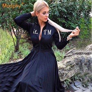 Kadın Siyah Zarif Pileli Elbise Uzun Kollu Standı Yaka Ön Fermuar Yüksek Bel Günlük Elbise Ünlü Parti Vestidos 210304