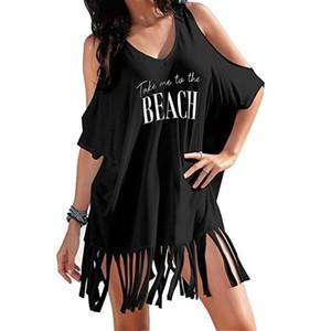 Mujer borla letras impresión bolso traje de baño bikini cover-ups playa vestido mujer traje de mar traje de baño falda traje de baño traje de baño