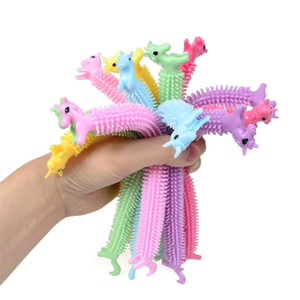Adults Kids Fidget Sensory Toy Noodle Rope TPR Stress Reliever Toys Unicorn Decompression Pull Ropes Bangle Stress Anxiety Relief Toys H3206