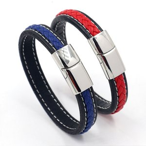 2021 New Fashion Titanium Steel Magnetic Buckle Rope Men's Leather Braided Bracelet