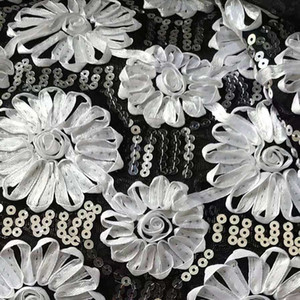 Mesh sequins wedding dress fabric with all over heavy cord lace hand beaded stones embroidery textile lace fabric
