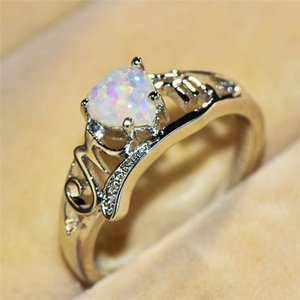 Cute Female Purple White Fire Opal Stone Ring Romantic Mom Letter Rings For Women Silver Color Love Heart Engagement Ring