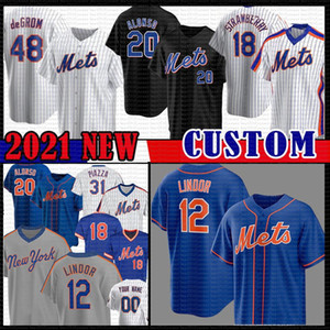 12 Francisco Lindor Pete Alonso Jacob degent Darryl Strawberry Baseball Jersey Noah Mets Syndergaard New Michael Conforto York Dwight Gooden