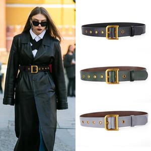Genuine Leather Cowhide Belt Wide waist Match Female Overcoat Dress Belts Vintage Metal Buckle Waistband Belt 2021 New