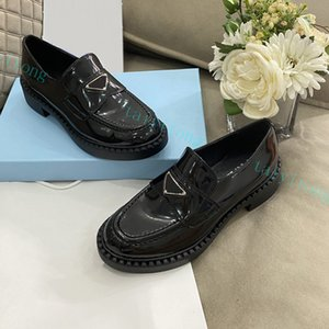 Desiger woman dress shoes platform genuine low-top casual leatherl chunky high heel Black white Size 35-40