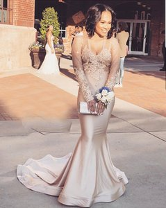 Sexy V-neck Prom Dress African Style Long Sleeve Mermaid Evening Dress Vestidos De Formatura Custom Made