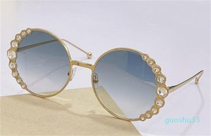 fashion design woman sunglasses 0324S round metal frame with diamond lace simple elegant style top quality summer uv400 protective glasses