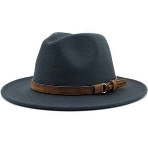 Leather Buckle Fedora Gentleman Top Hat Wool Suede Jazz Winter Mens Trilby Cap Outdoor Fashion Elegant Multi Color 13xg G2