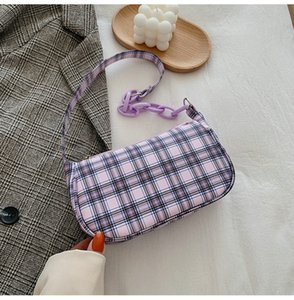 Small Plaid Chains Vintage Bag Women's bag Ladies Handbag Baguette
