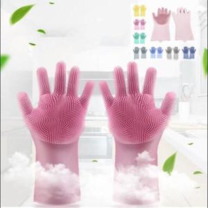 Luvas de limpeza de silicone cor pura Lavagem de lavagem escova de silicone luva 2 partes 1Pair cozinha banheiro limpeza ferramentas de limpeza wy414q