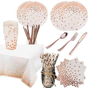Rose Gold Party Einweg Geschirr Set Party Papier Tassen Platten Strohhalme Tischdekoration Hochzeit Geburtstagsbedarf