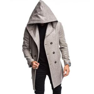 Mens Woolen Blends Cappotto con cappuccio Cappotto Fashion Trend Manica Lunga Cardigan Double Breasted Giacca a vento Capispalla maschio inverno Cappotti casuali Cappotti a mezza lunghezza