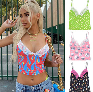women's new spring V-neck printing lace splicing short open navel suspender top Sexy Slim Sling Print Summer Camisole Short Cropped Top