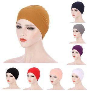 2021 Neue elastische Mode Turban Hut Solide Farbe Frauen Warme Winter Kopftuch Motorhaube Innere Hijabs Kappe Muslim Femme Wrap Kopf